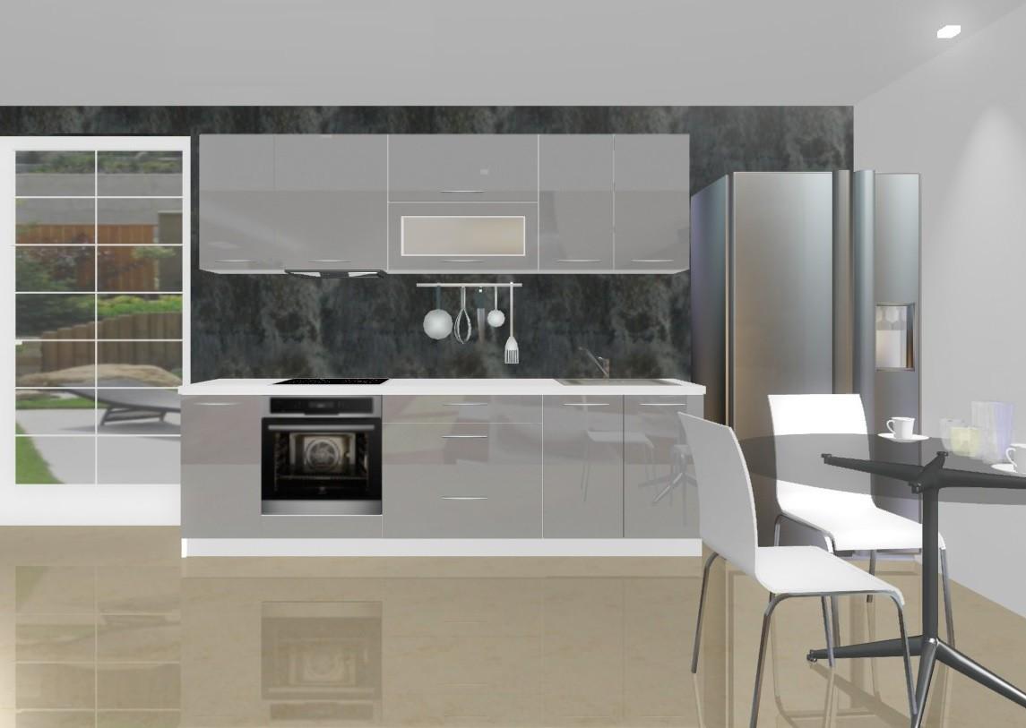 Rovná Emilia - Kuchynský blok D pre vstavanú rúru, 2,6 m (sivá lesk)