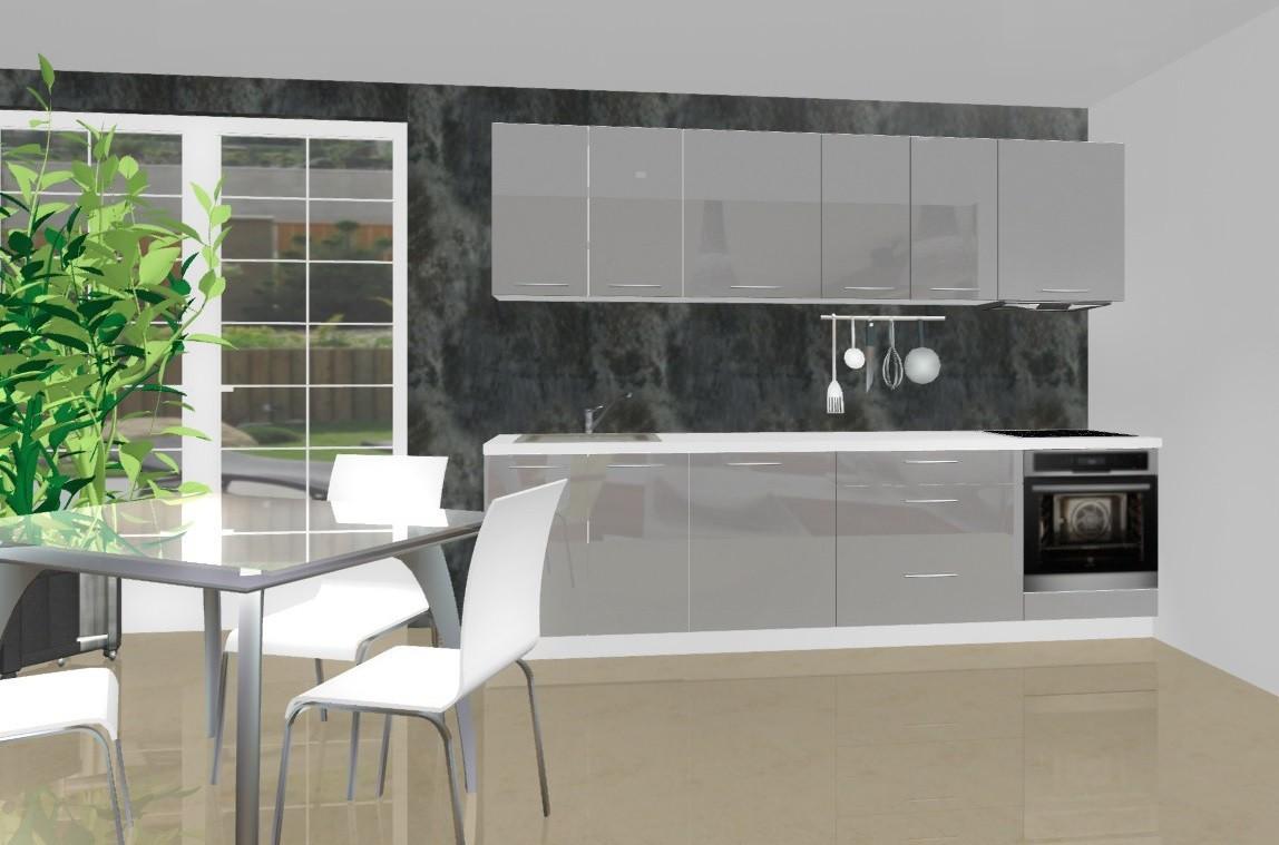 Rovná Emilia - Kuchynský blok D pre vstavanú rúru, 2,8 m (šedá lesk)