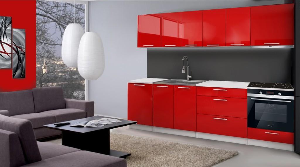 Rovná Emilia - Kuchynský blok D pre vstavanú rúru, 2,8m (červená lesk)