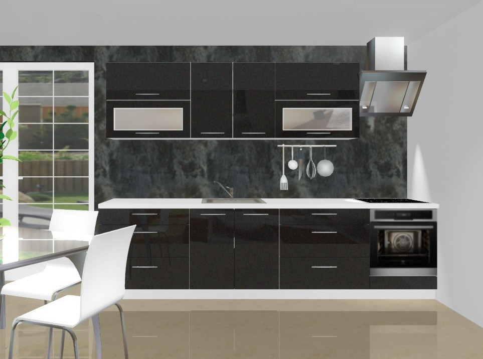 Rovná Emilia - Kuchynský blok D pre vstavanú rúru, 3 m (černá lesk)