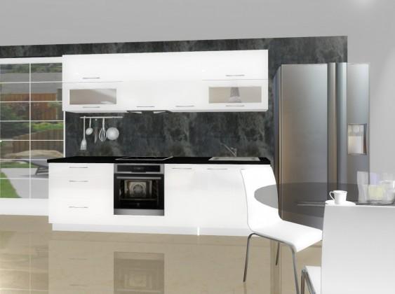 Rovná Emilia - Kuchynský blok E pre vstavanú rúru, 2,6 m (biela lesk)
