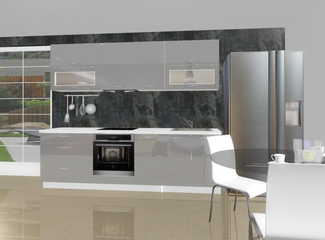 Rovná Emilia - Kuchynský blok E pre vstavanú rúru, 2,6 m (sivá lesk)