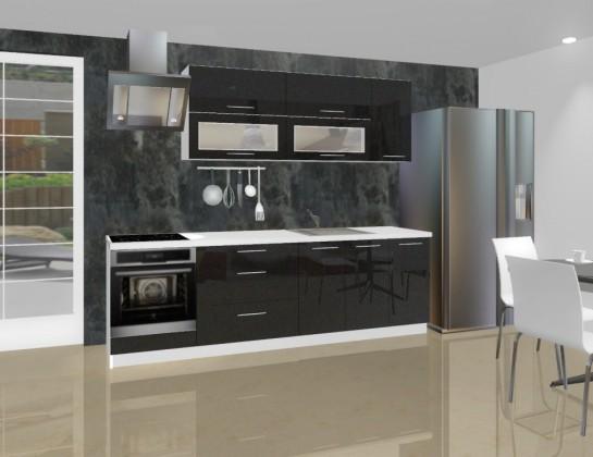 Rovná Emilia - Kuchynský blok F pre vstavanú rúru, 2,6 m (černá lesk)