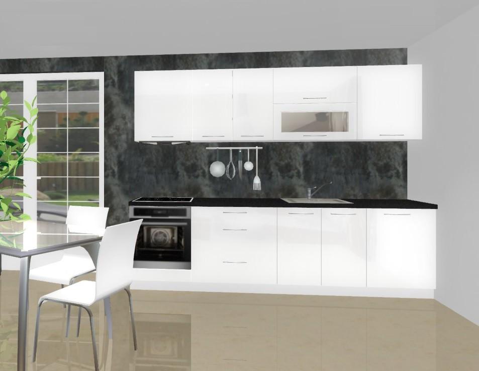 Rovná Emilia - Kuchynský blok F pre vstavanú rúru, 2,8 m (biela lesk)