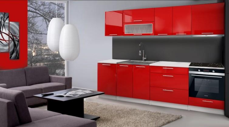 Rovná Emilia - Kuchynský blok F pre vstavanú rúru, 2,8m (červená lesk)