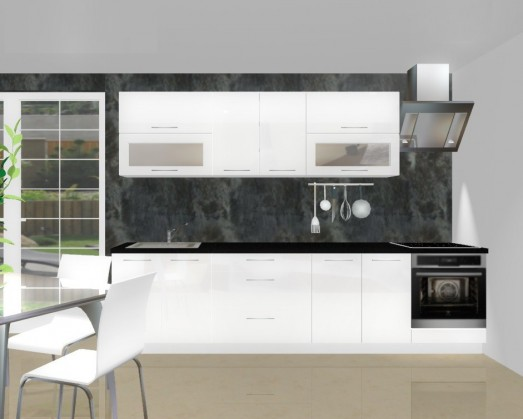 Rovná Emilia - Kuchynský blok F pre vstavanú rúru, 3 m (biela lesk)