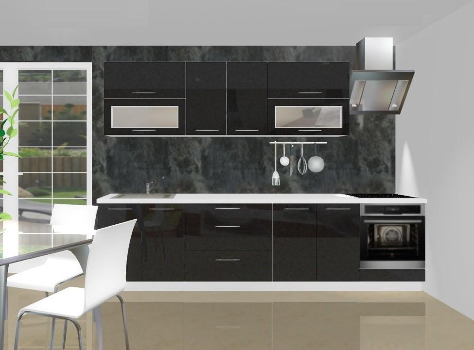 Rovná Emilia - Kuchynský blok F pre vstavanú rúru, 3 m (černá lesk)