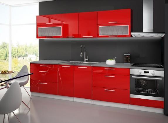 Rovná Emilia - Kuchynský blok F pre vstavanú rúru, 3 m (červená lesk)
