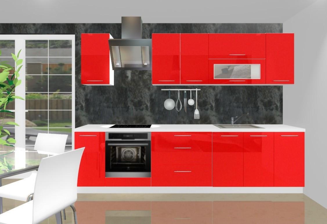 Rovná Emilia - Kuchynský blok G pre vstavanú rúru, 3 m (červená lesk)