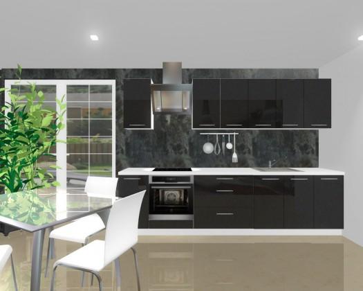 Rovná Emilia - Kuchynský blok H pre vstavanú rúru, 3 m (černá lesk)