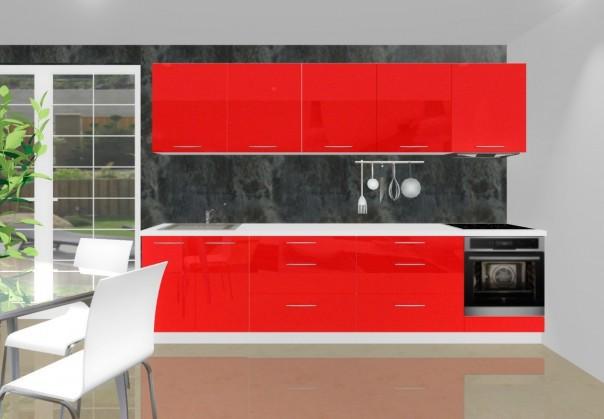 Rovná Emilia - Kuchynský blok I pre vstavanú rúru, 3 m (červená lesk)