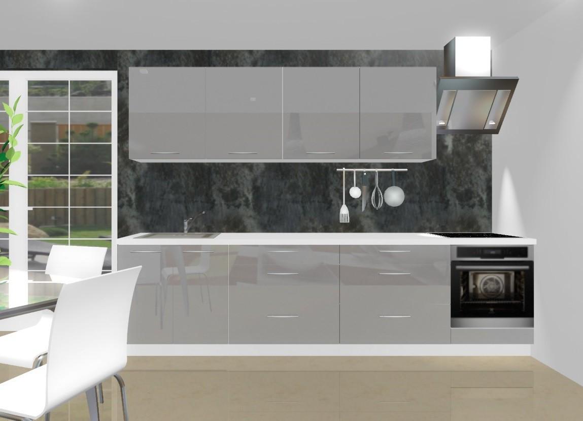 Rovná Emilia - Kuchynský blok J pre vstavanú rúru, 3 m (šedá lesk)