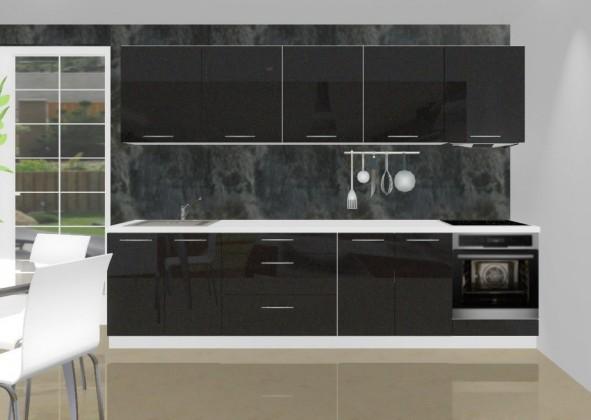 Rovná Emilia - Kuchynský blok K pre vstavanú rúru, 3 m (černá lesk)