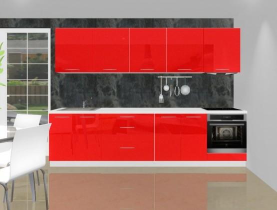 Rovná Emilia - Kuchynský blok K pre vstavanú rúru, 3 m (červená lesk)