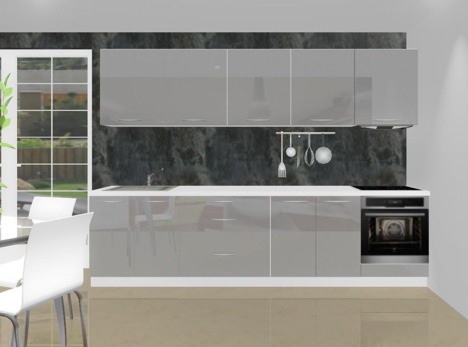 Rovná Emilia - Kuchynský blok K pre vstavanú rúru, 3 m (šedá lesk)