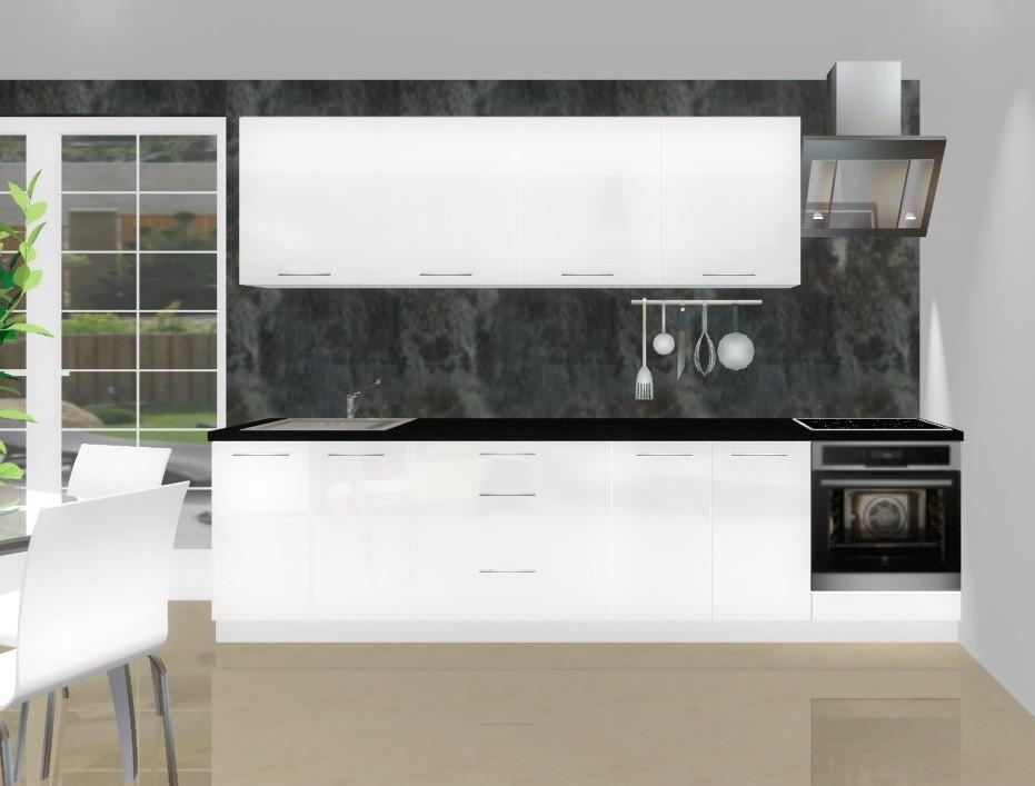 Rovná Emilia - Kuchynský blok L pre vstavanú rúru, 3 m (biela lesk)