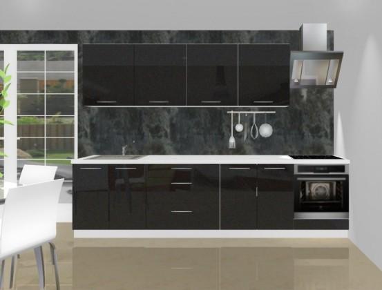 Rovná Emilia - Kuchynský blok L pre vstavanú rúru, 3 m (černá lesk)