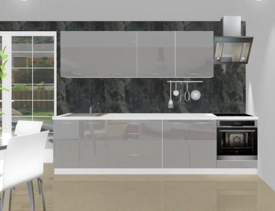 Rovná Emilia - Kuchynský blok L pre vstavanú rúru, 3 m (šedá lesk)
