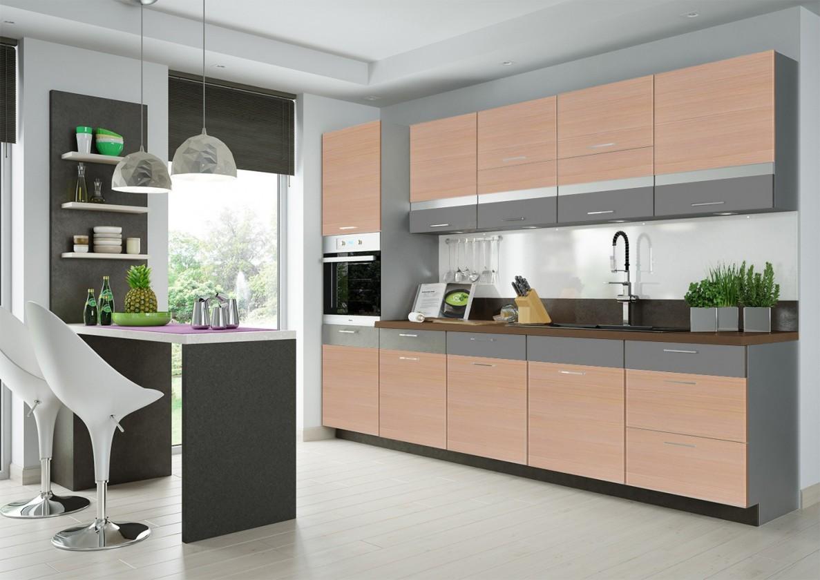 Rovná Fresh - kuchynský blok 300 cm (truffel, bodega svetlá)