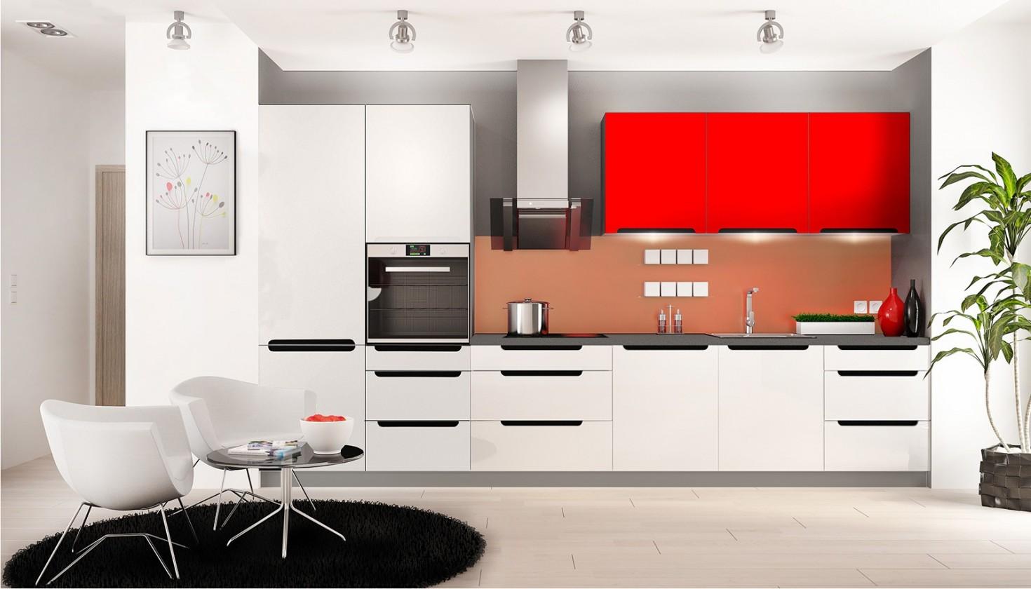 Rovná Goya - Kuchynský blok (biela, červená lesk, PD porfido grafit)