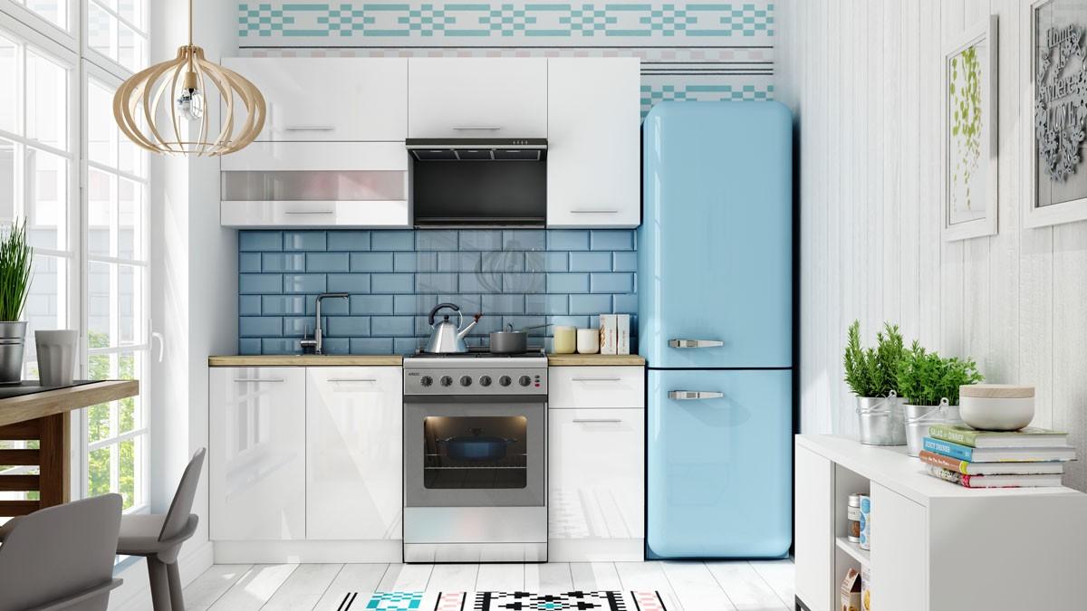 Rovná Kuchyňa Aurora - 180 cm (biela vysoký lesk)