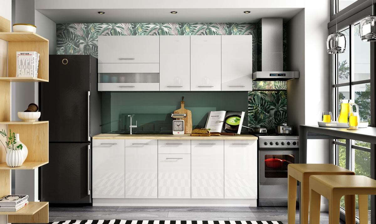 Rovná Kuchyňa Aurora - 200 cm (biela vysoký lesk)