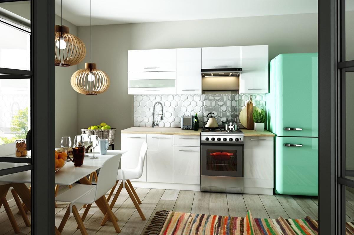 Rovná Kuchyňa Aurora - 220 cm (biela vysoký lesk)