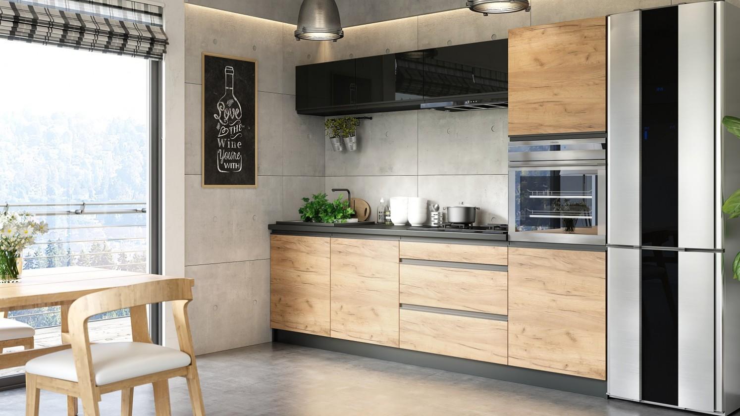 Rovná Kuchyňa Brick - 260 cm (čierna vysoký lesk/craft)