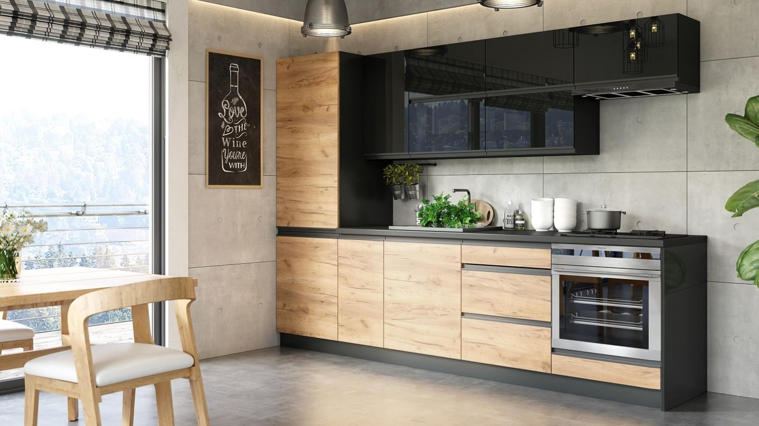 Rovná Kuchyňa Brick - 280 cm (čierna vysoký lesk/craft)