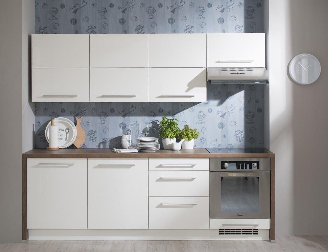 Rovná Kuchyňa Carla - 240 cm (biela vysoký lesk/dub halifax)