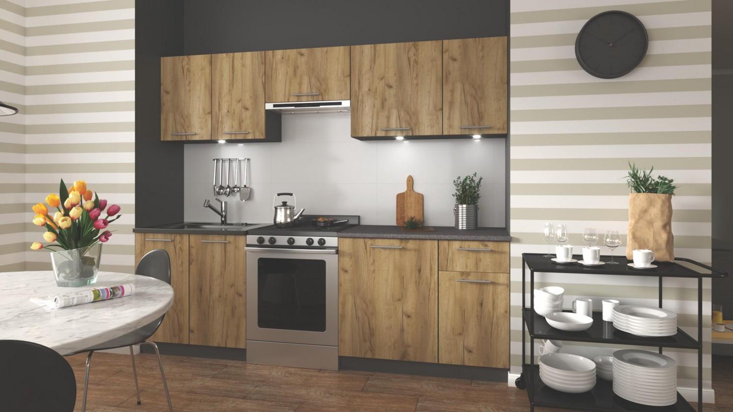 Rovná Kuchyňa Daria - 240 cm (dub wotan/šedá)