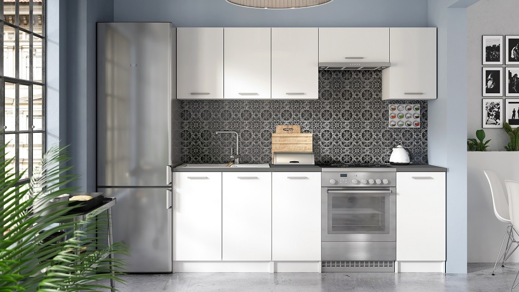 Rovná Kuchyňa Eco - 220 cm (biela)
