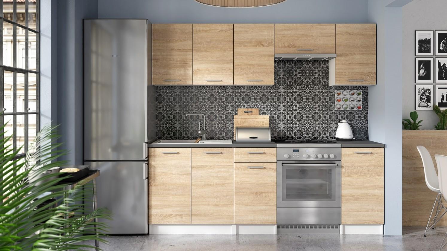 Rovná Kuchyňa Eco - 220 cm (dub sonoma/biela)