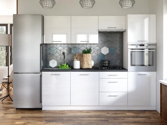 Rovná Kuchyňa Emilia - 240 cm (biela vysoký lesk/travertin tmavý)
