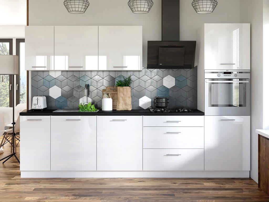 Rovná Kuchyňa Emilia - 300 cm (biela vysoký lesk/čierna)
