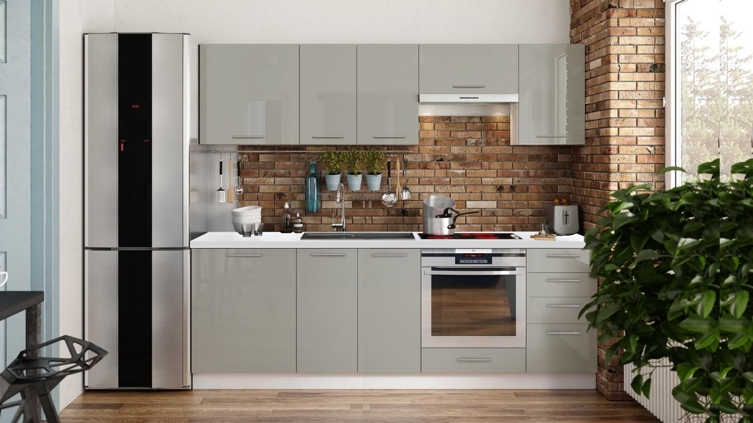 Rovná Kuchyňa Emilia Lux - 240 cm (sivá vysoký lesk)