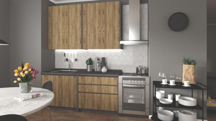 Rovná Kuchyňa Idea - 180 cm (dub wotan/šedá)