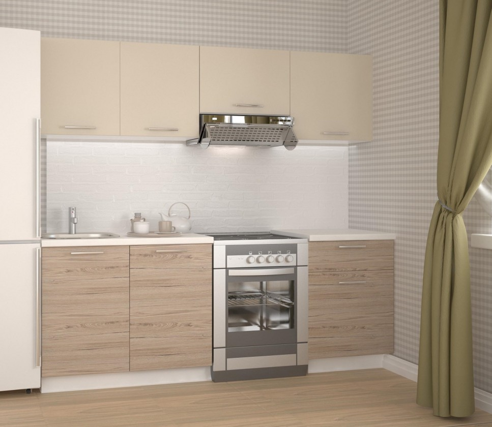 Rovná Kuchyňa Katia - 220 cm (béžová/dub san marino)