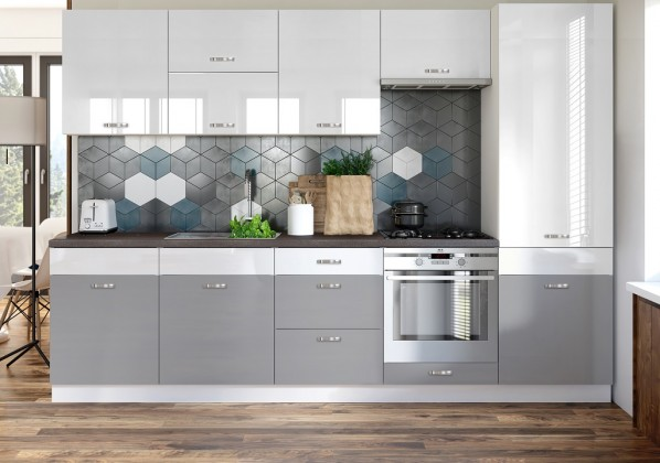 Rovná Kuchyňa Manhattan - 300 cm (biela vysoký lesk/sivá vysoký lesk)