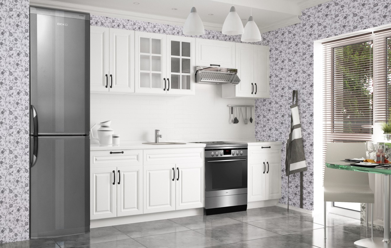 Rovná Kuchyňa Michelle - 260 cm (biela)