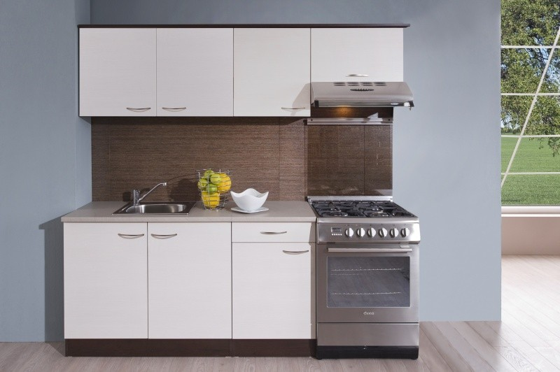 Rovná Kuchyňa Nina - 210 cm (woodline creme/dub tmavý)