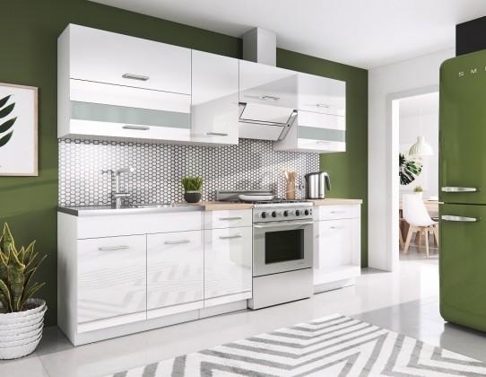 Rovná Kuchyňa Rio - 240 cm (biela vysoký lesk)