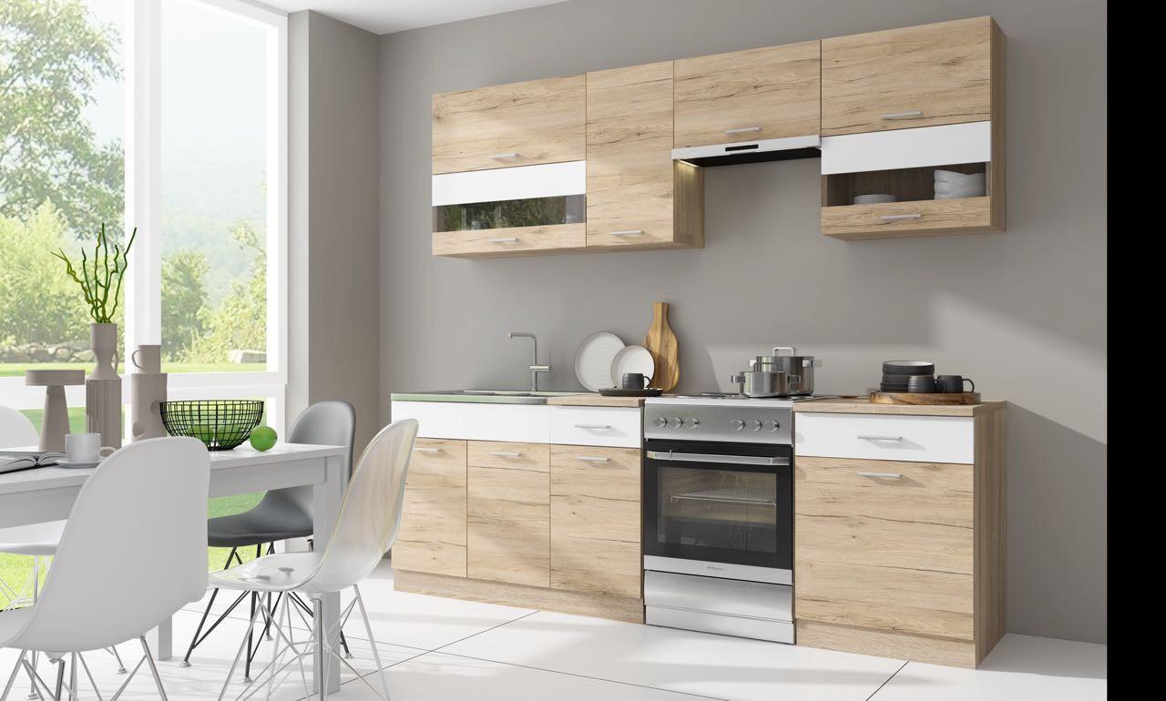 Rovná Kuchyňa Rio - 240 cm (dub san remo/biela)