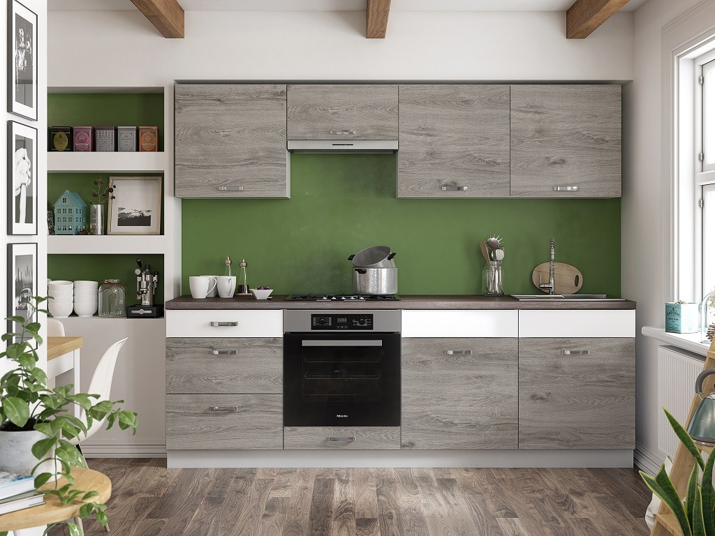 Rovná Kuchyňa Santis - 240 cm (figaro/biela/travertin tmavý)