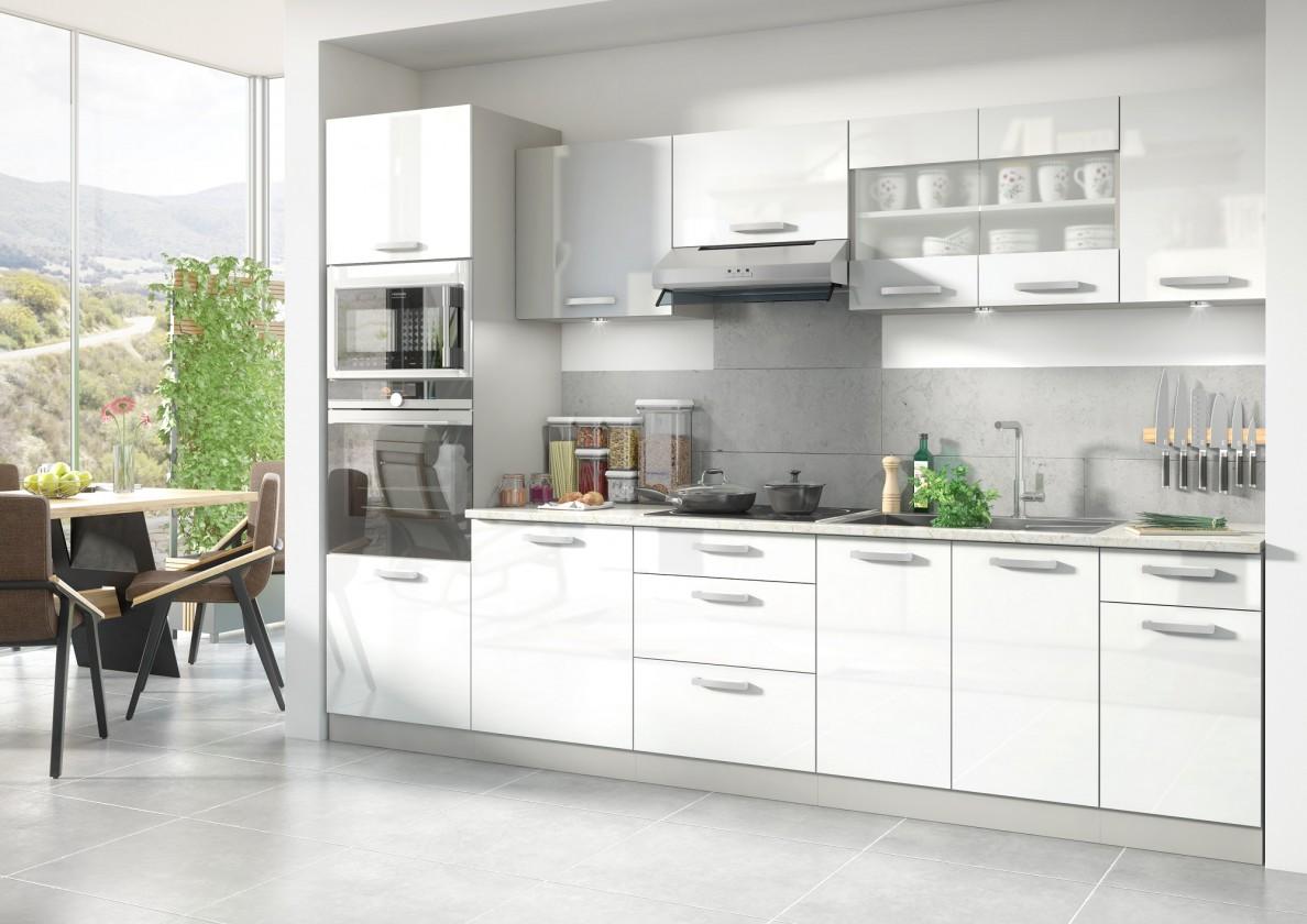 Rovná Kuchyňa Vicky - 300 cm (biela vysoký lesk)