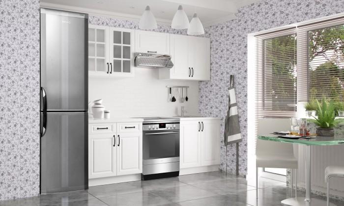 Rovná Michelle - Kuchynský blok, 160/220 (biela,biela, čierna úchytka)