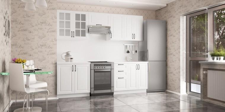 Rovná Michelle - Kuchynský blok, 180/240 cm (biela, čierna úchytka)