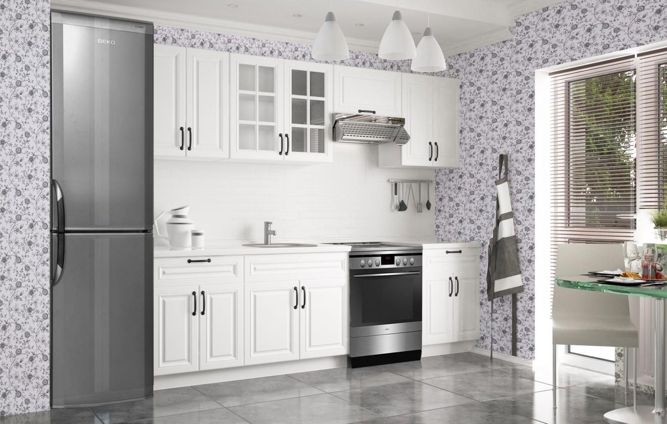 Rovná Michelle - Kuchynský blok, 200/260 cm (biela, čierna úchytka)