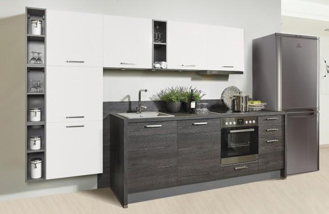 Rovná Misano - Kuchyne 280/320cm (biela, dub čierny)