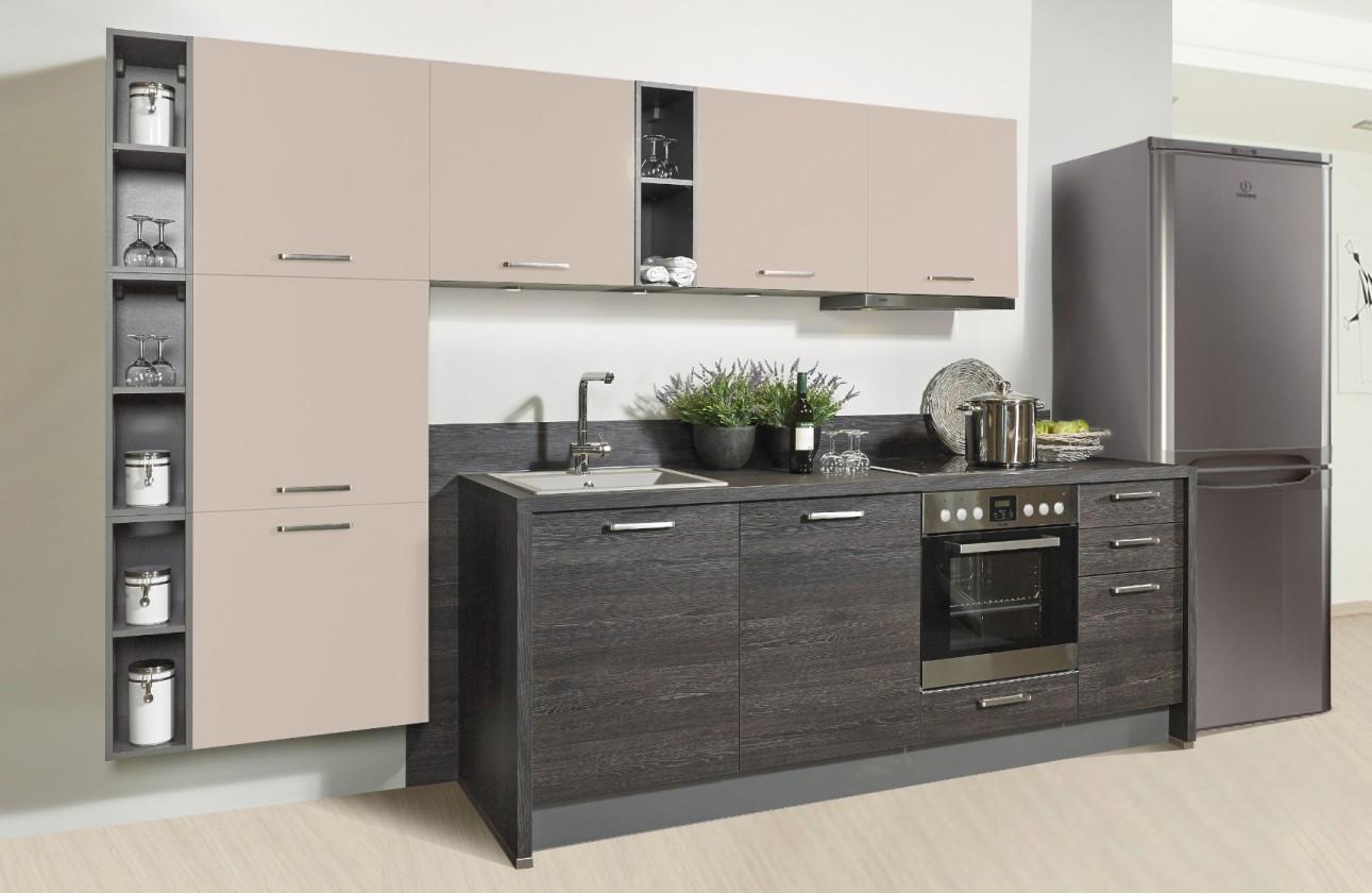 Rovná Misano - Kuchyne 280/320cm (krémová, dub čierny)